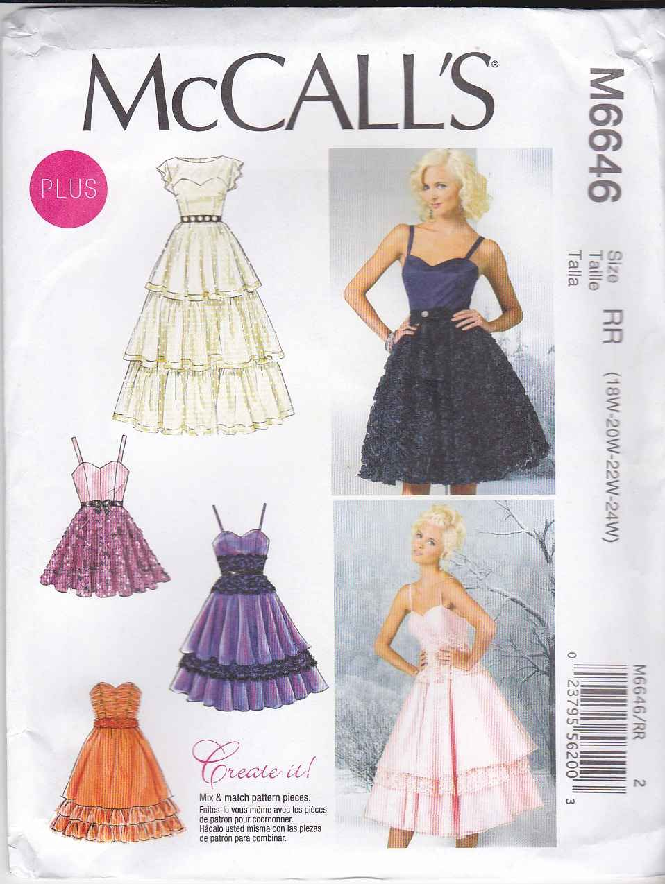 Mccalls Sewing Pattern 6646 Womens Plus Size 18w 24w