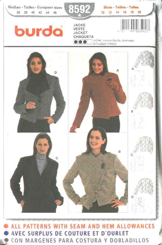 Burda Sewing Pattern 8592 Misses Size 10-20 Fitted Asymetrical Front Jackets