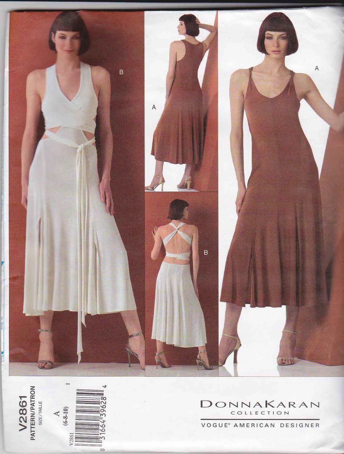 Vogue Sewing Pattern 2861 Misses Size 6-8-10 Donna Karan Two Different Knit Dresses Dance