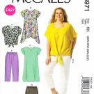 McCalls Sewing Pattern 6971 Womens Plus Size 18W-24W Easy Wardrobe Top Skirt Pants Shorts Shirt