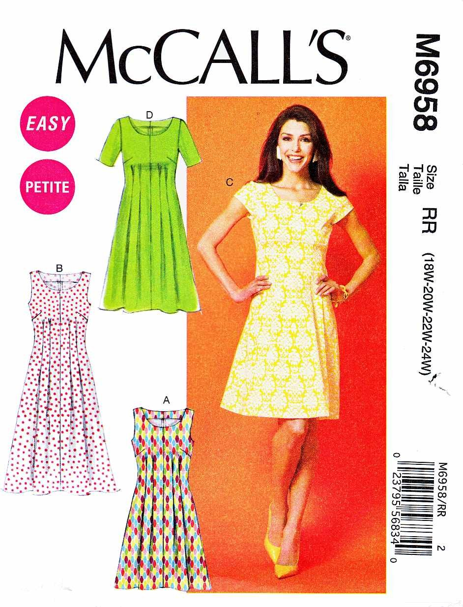 McCalls Sewing Pattern 6958 Womens Plus Size 18W-24W Easy Tucked Dresses Sleeve Options