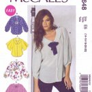 McCalls Sewing Pattern M6648 6648 Misses Size 14-22 Easy Button Front Loose Fitting Blouse