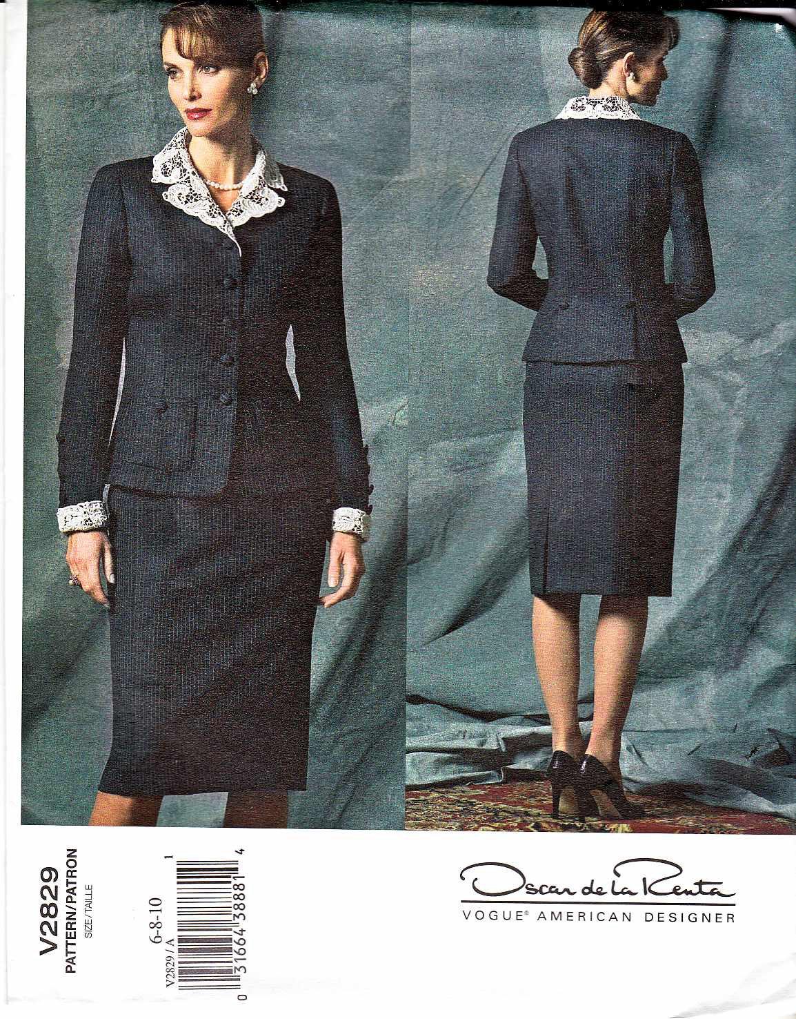 Vogue Sewing Pattern 2829 Misses Size 12-14-16 Oscar de la Renta Suit Skirt Jacket