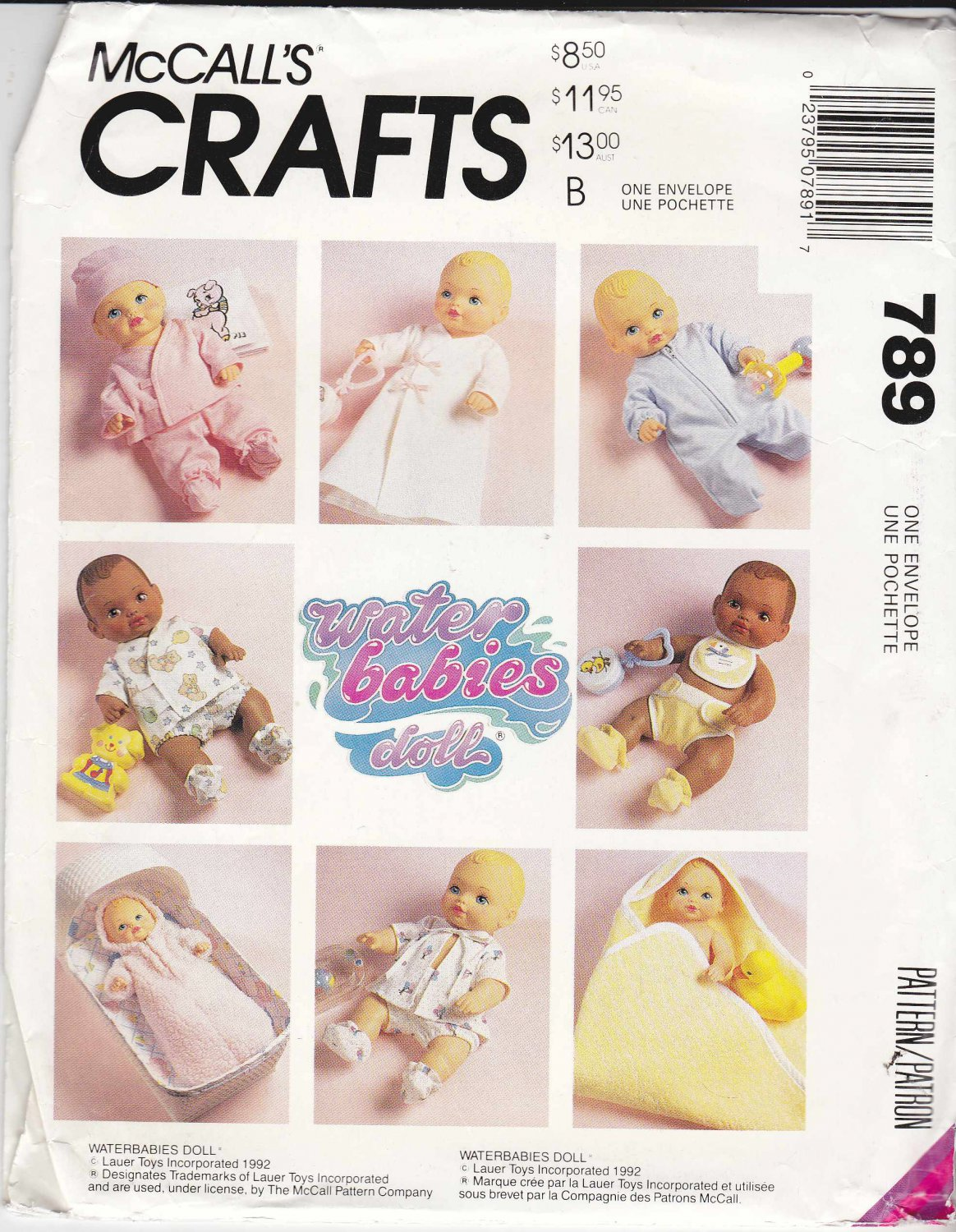 """McCall's Sewing Pattern 789 6276 Water Babies Doll Clothes Wardrobe 12"""" - 22"""""""