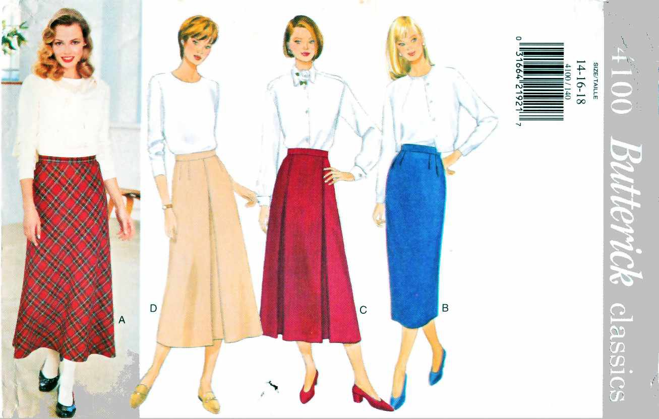 Butterick Sewing Pattern 4100 Misses Size 6-12 Easy Classics Bias Straight Pleated Skirts