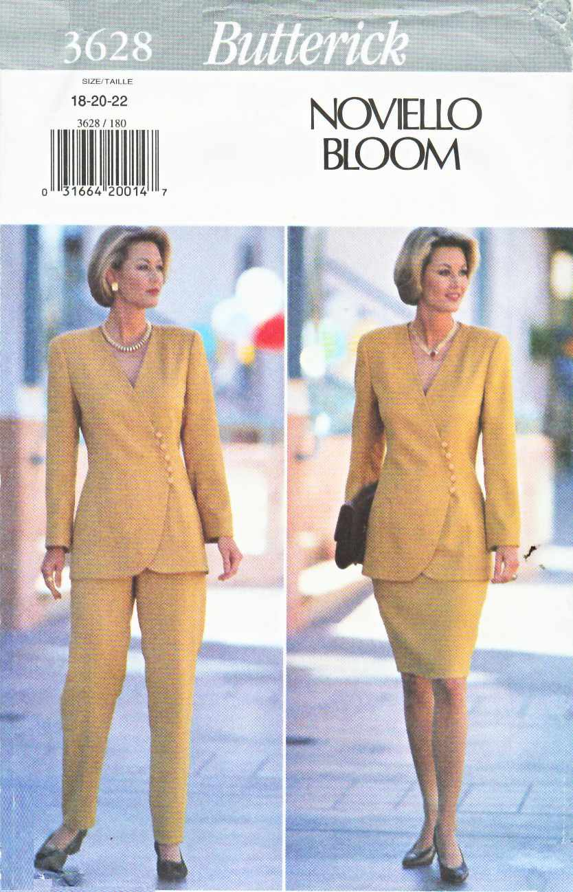 Butterick Sewing Pattern 3628 Misses Size 18-20-22 Easy Jacket Straight Skirt Pants Suit