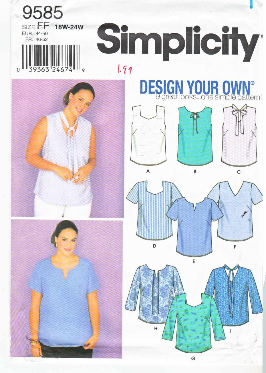Simplicity Sewing Pattern 9585 Womens Plus Sizes 18W-24W Pullover Blouse Top Sleeve Options