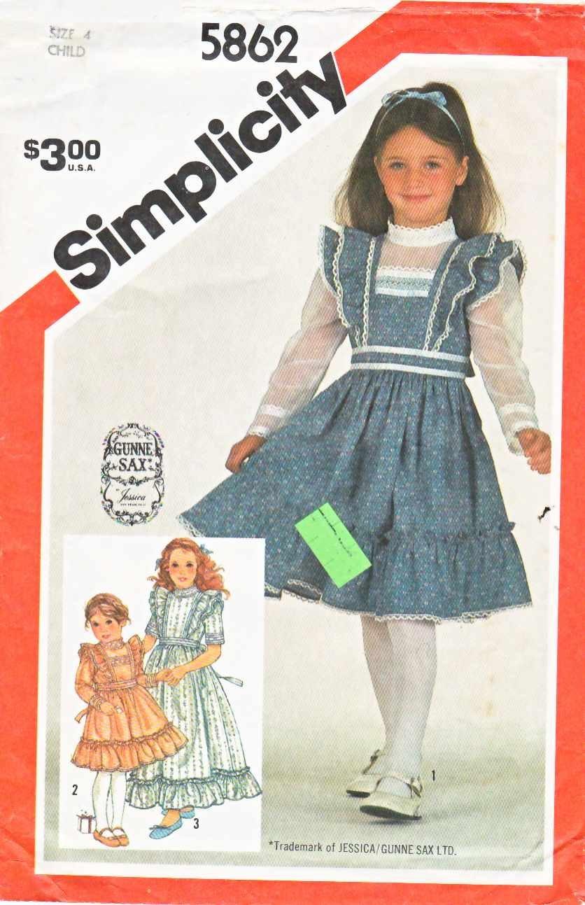 Simplicity Sewing Pattern 5862 Girls Sizes 4 Gunne Sax Ruffled Dress Length Sleeve Options
