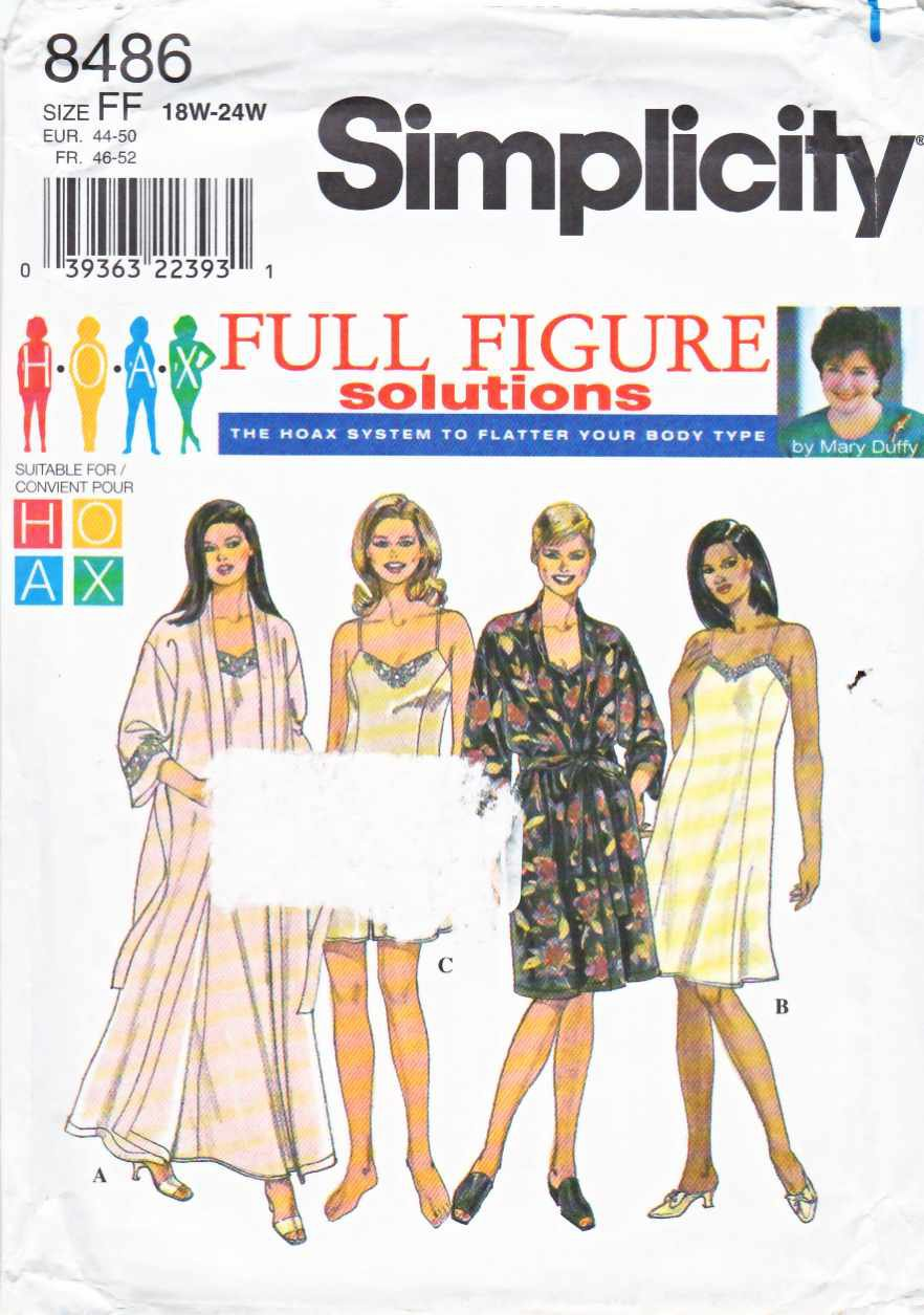 Simplicity Sewing Pattern 8486 Womens Plus Sizes 18W-24W Slip Nightgown Camisole Robe Tap Pants
