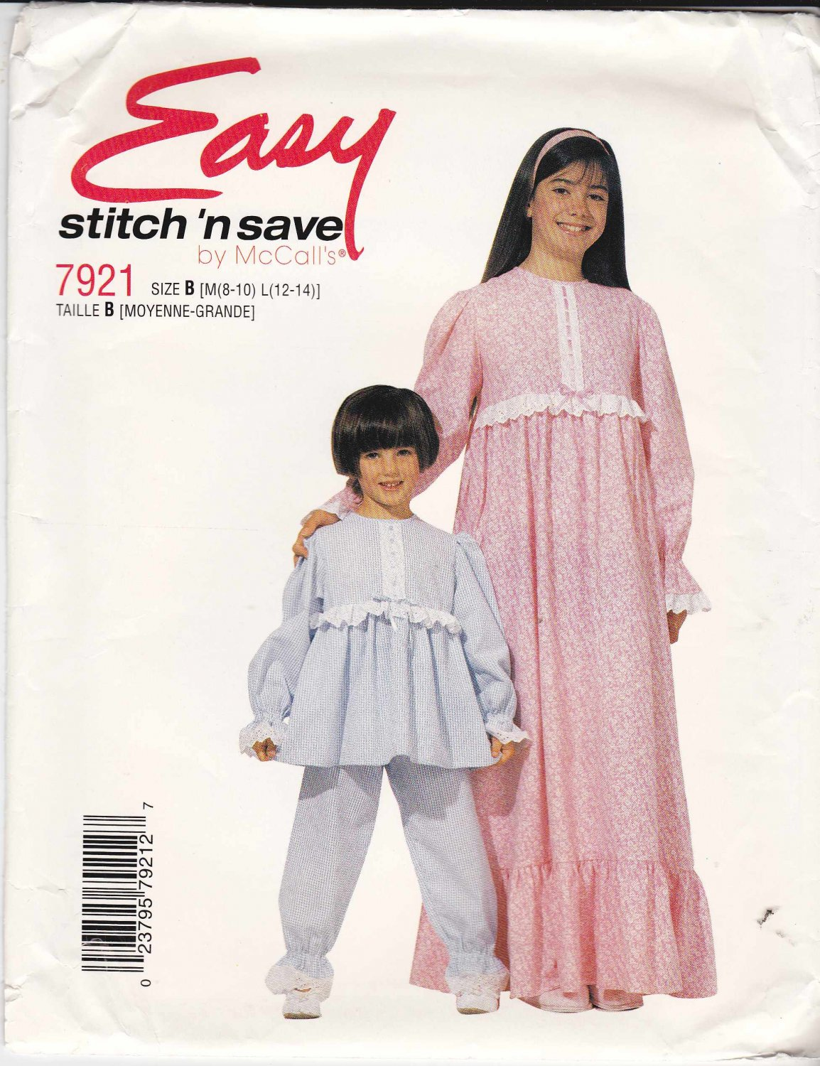 McCalls Sewing Pattern 7921 Girls Size 8-14 Easy Long Sleeve Nightgown Pajamas