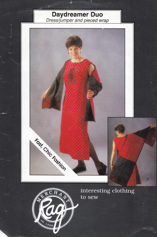 Rag Merchant Sewing Pattern Daydreamer Duo Misses Sizes 6-24/26 Sleeveless A-line Dress Shawl