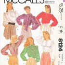 McCall's Sewing Pattern 8124 Misses Size 8 Pullover Long Sleeve Blouse Collar Options