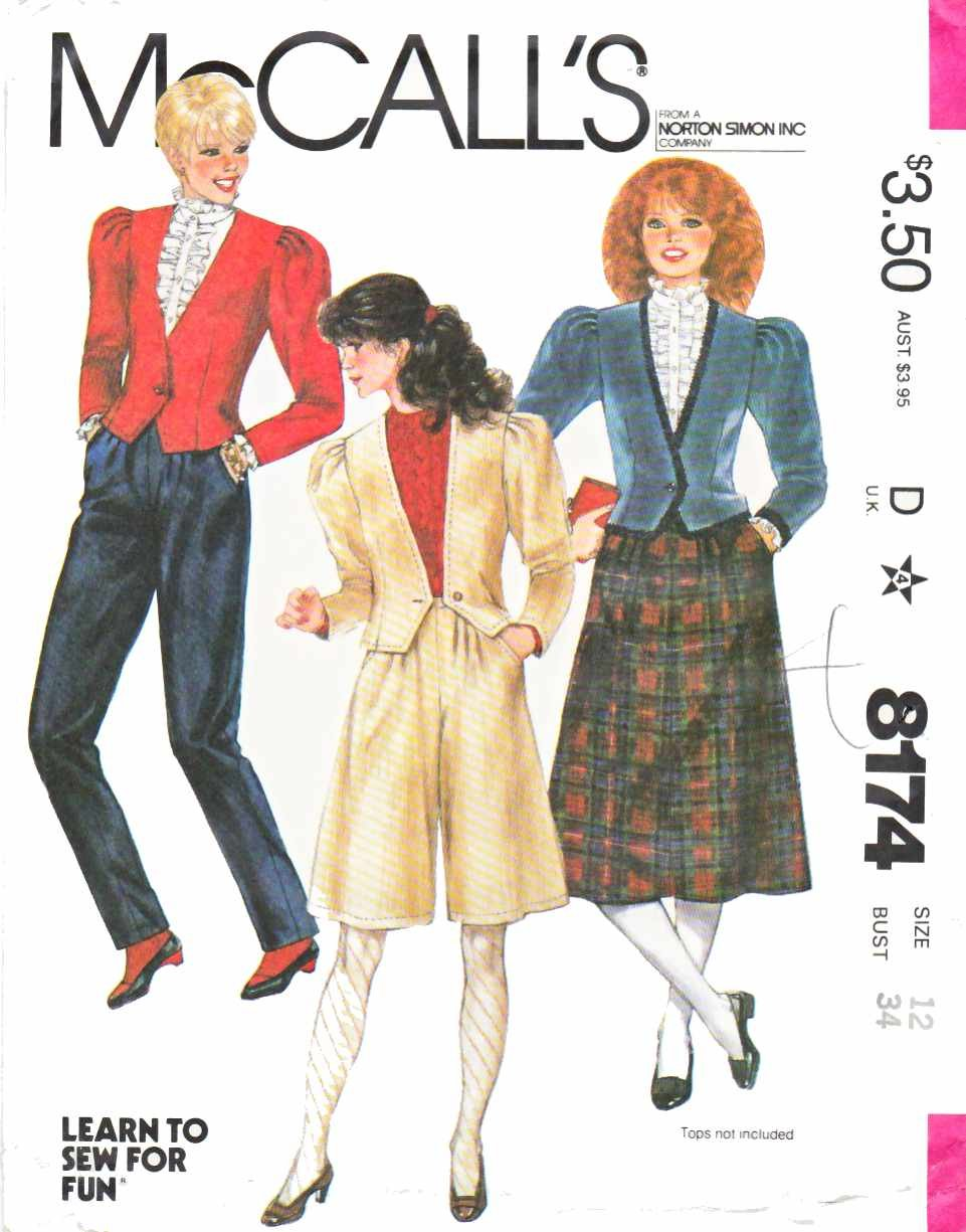 McCall's Sewing Pattern 8174 Misses Size 10 Wardrobe Jacket Pants Skirt Culottes
