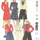 McCall's Sewing Pattern 8180 Misses Size 8 Wardrobe Jacket Skirt Culottes Tie Blouse