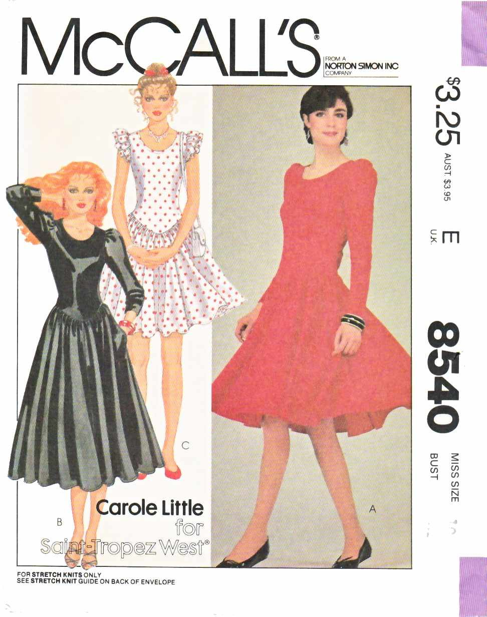 McCall's Sewing Pattern 8540 Misses Size 8 Knit Full Gathered Skirt Dress Sleeve Length Options
