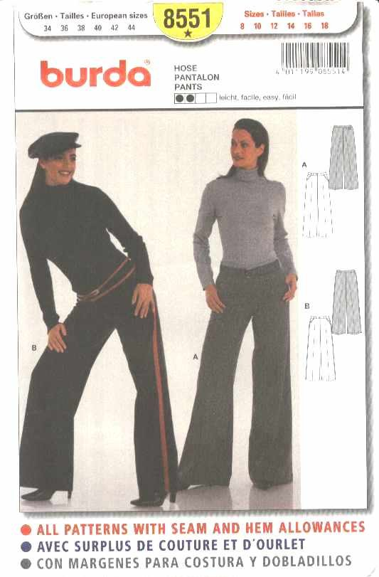 Burda Sewing Pattern 8551 Misses Sizes 8-18 Easy Fitted Pants