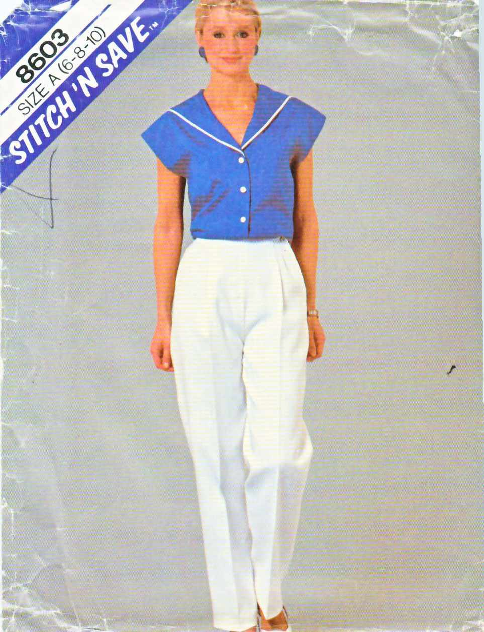 McCall's Sewing Pattern 8603 Misses Size 6-10 Buttoned Front Sailor Collar Top Front Pleat Pants