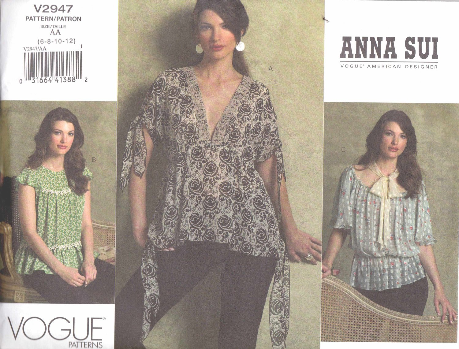 Vogue Sewing Pattern 2947 Misses Size 6-12 Anna Sui Loose Fitting Raised Waist Baby Doll Blouses