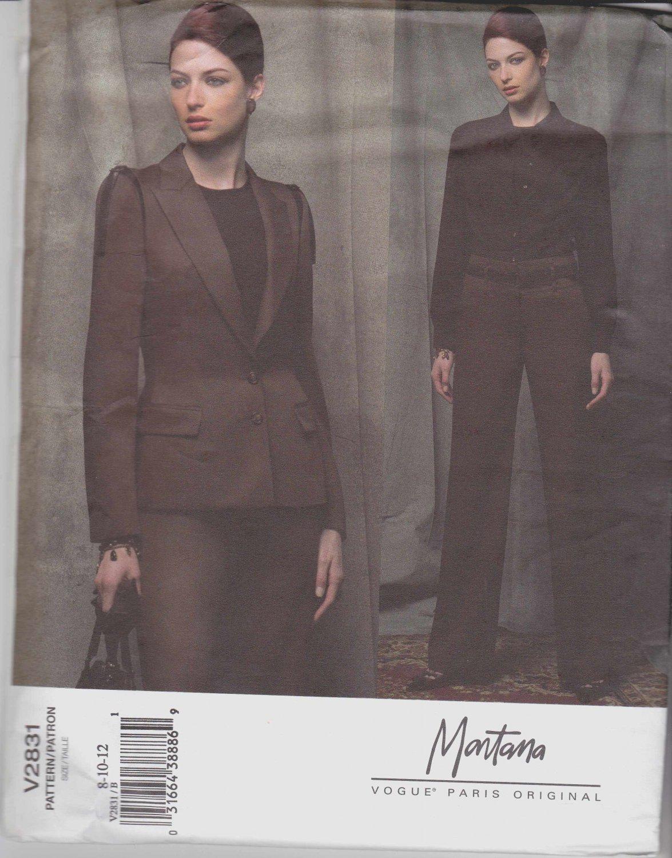 Vogue Sewing Pattern 2831 Misses Size 8-10-12 Montana Pantsuit Jacket Pants Paris Original