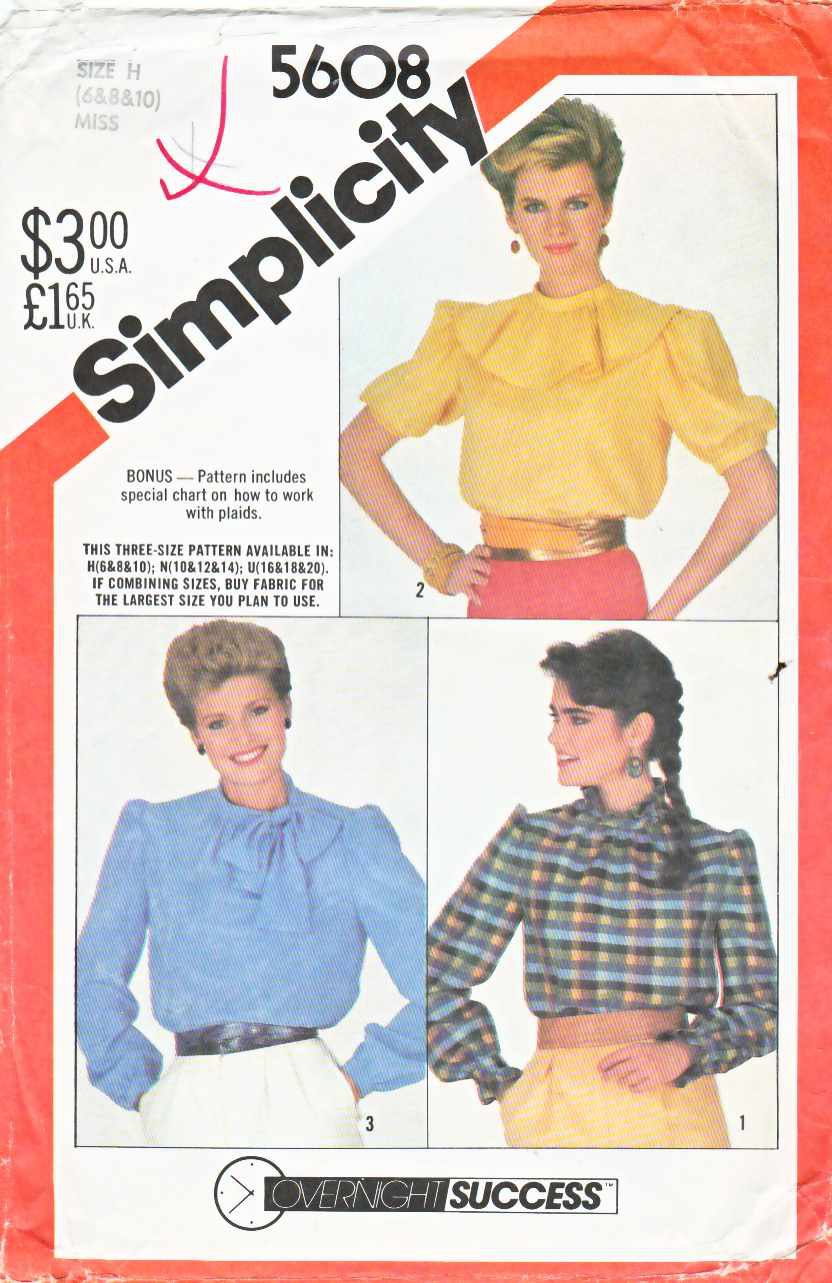 Simplicity Sewing Pattern 5608 Misses Sizes 10-14 Pullover Blouse Sleeve Collar Options