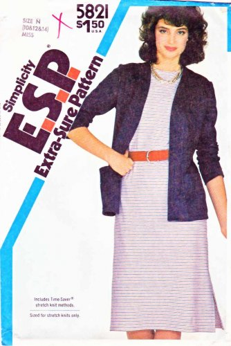 Simplicity Sewing Pattern 5821 Misses Size 10-14 Knit Short Sleeve Straight Dress Jacket