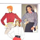 Butterick Sewing Pattern 4624 Misses Size 8 Button Front Long Sleeve Shirt Blouse Bow Tie