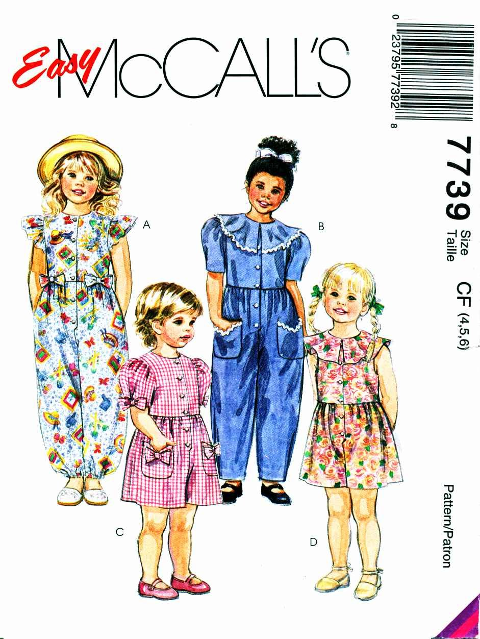 McCalls Sewing Pattern 7739 Girls Size 4-5-6 Easy Jumpsuit Romper Sleeve Neck Pocket Options