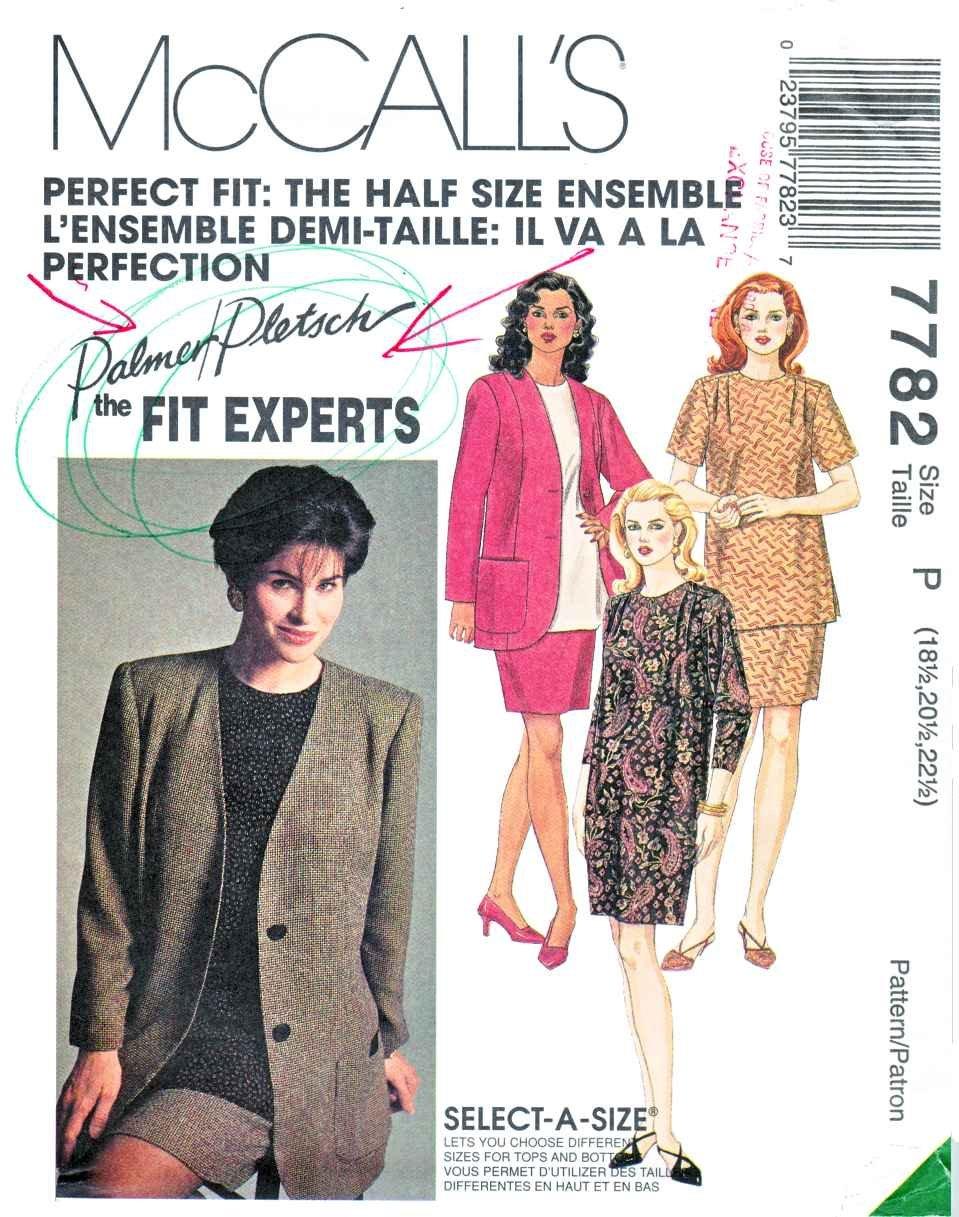 McCalls Sewing Pattern 7782 Woman's Half-Size 18 ½ - 20 ½ - 22 ½ Ensemble Dress Skirt Top Jacket