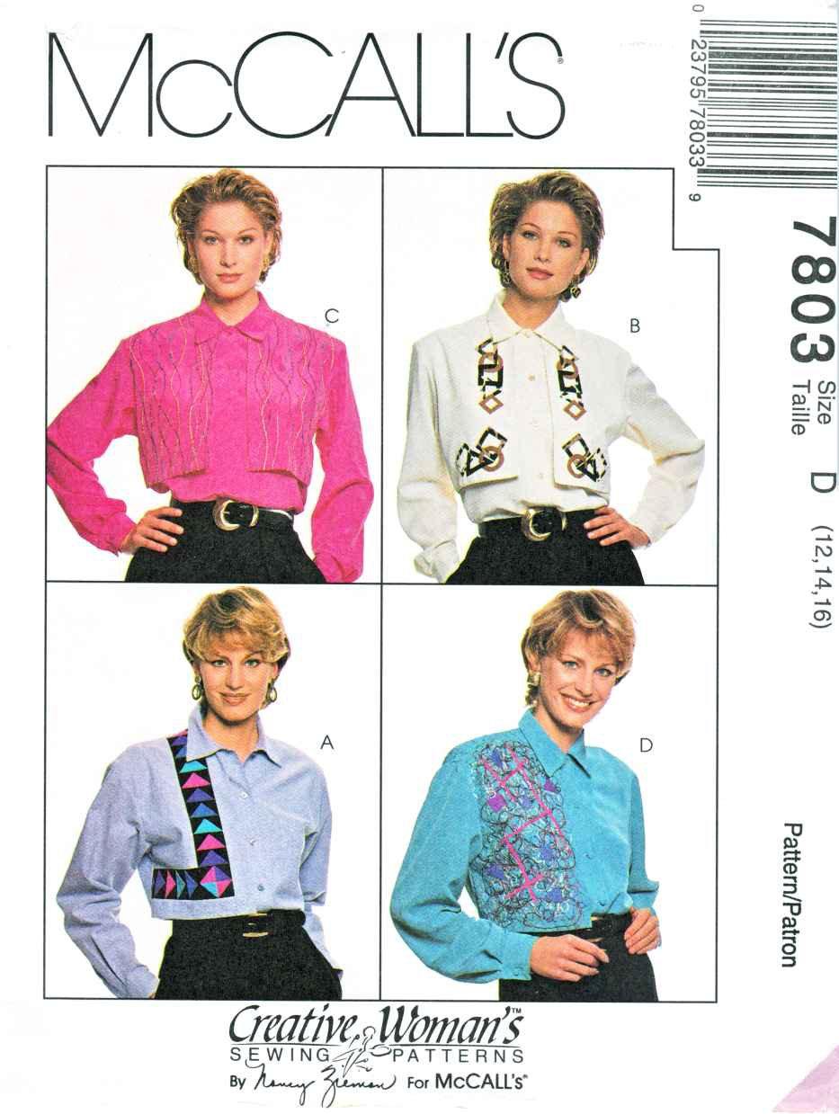 McCalls Sewing Pattern 7803 Misses Size 12-16 Nancy Zieman Creative Long Sleeve Blouse