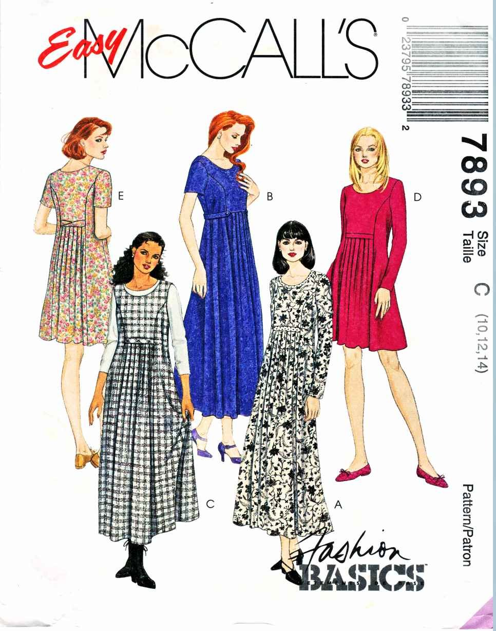 McCalls Sewing Pattern 7893 Misses Size 10-14 Easy Basic Dress Jumper Sleeve Options