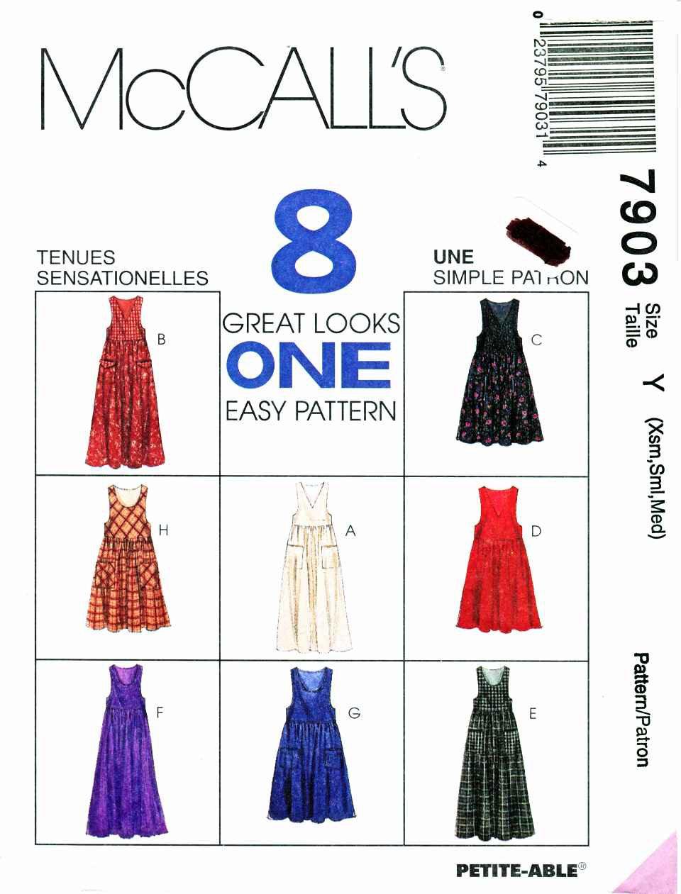 McCalls Sewing Pattern 7903 Misses Size 4-14 Easy Jumpers Length Neckline Pocket Options