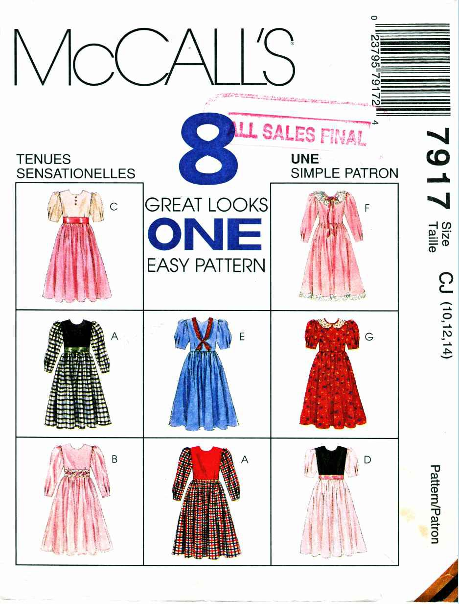 McCalls Sewing Pattern 7917 Girls Size 10-14 Easy Gathered Skirt Dress Sleeve Collar Options