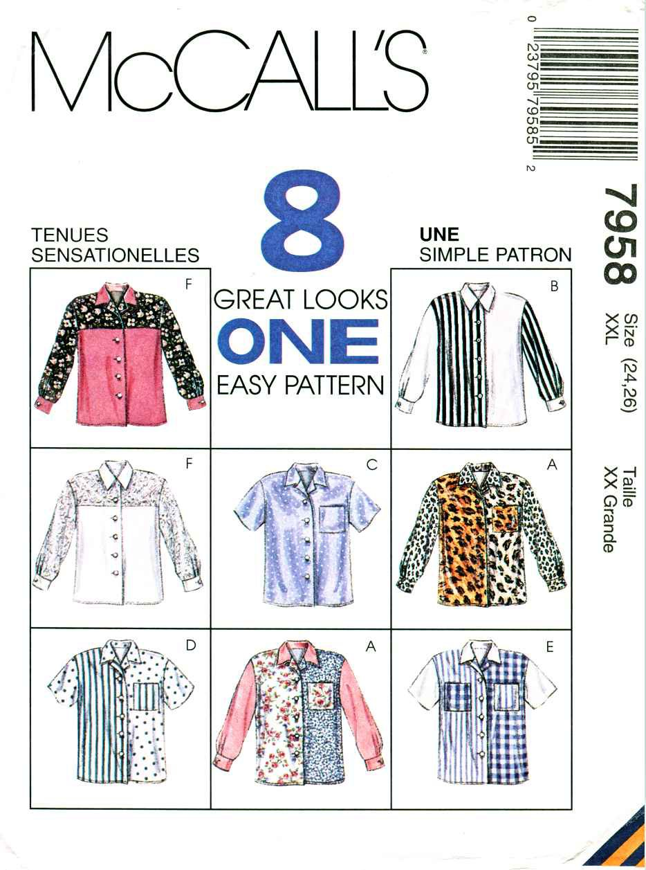McCalls Sewing Pattern 7958 Misses Size 24-26 Easy Front Buttoned Blouse Shirt Sleeve Options