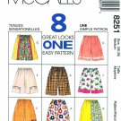 McCalls Sewing Pattern 8251 Misses Men's Unisex Size Medium  Easy Shorts Length Trim Options