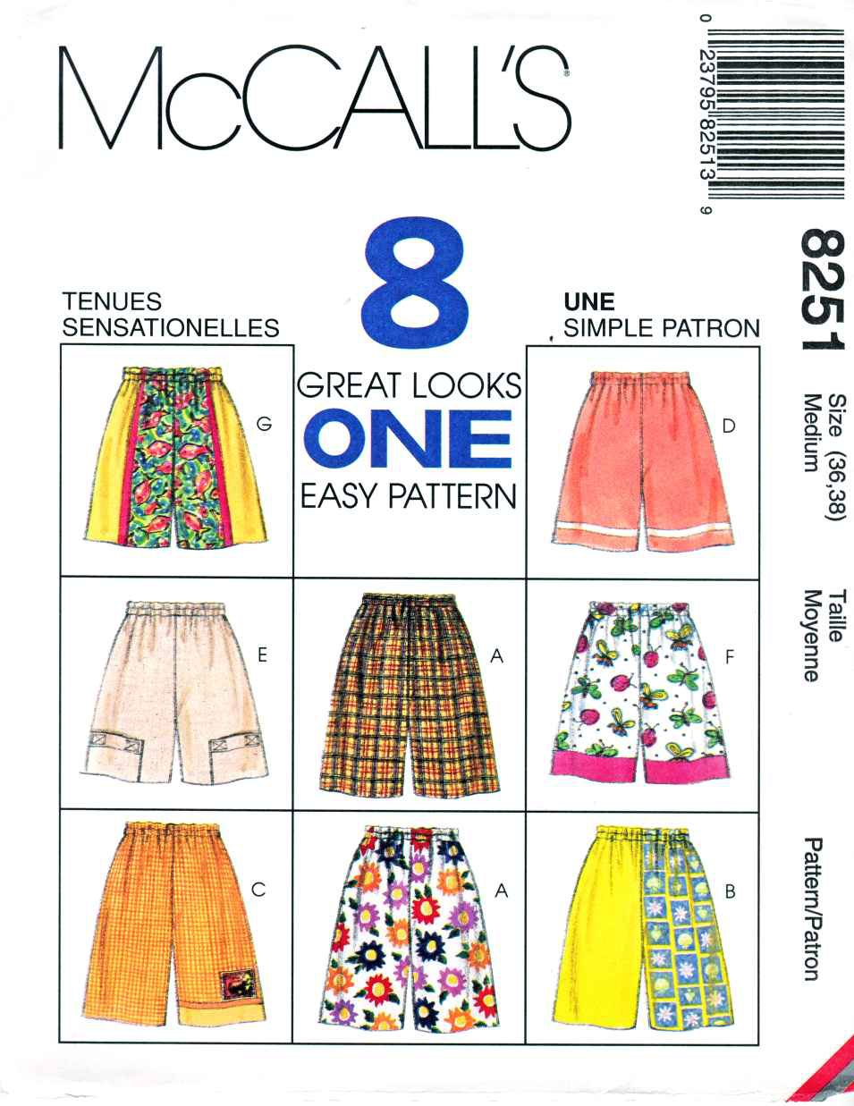 McCalls Sewing Pattern 8251 Misses Men's Unisex Size XSmall  Easy Shorts Length Trim Options