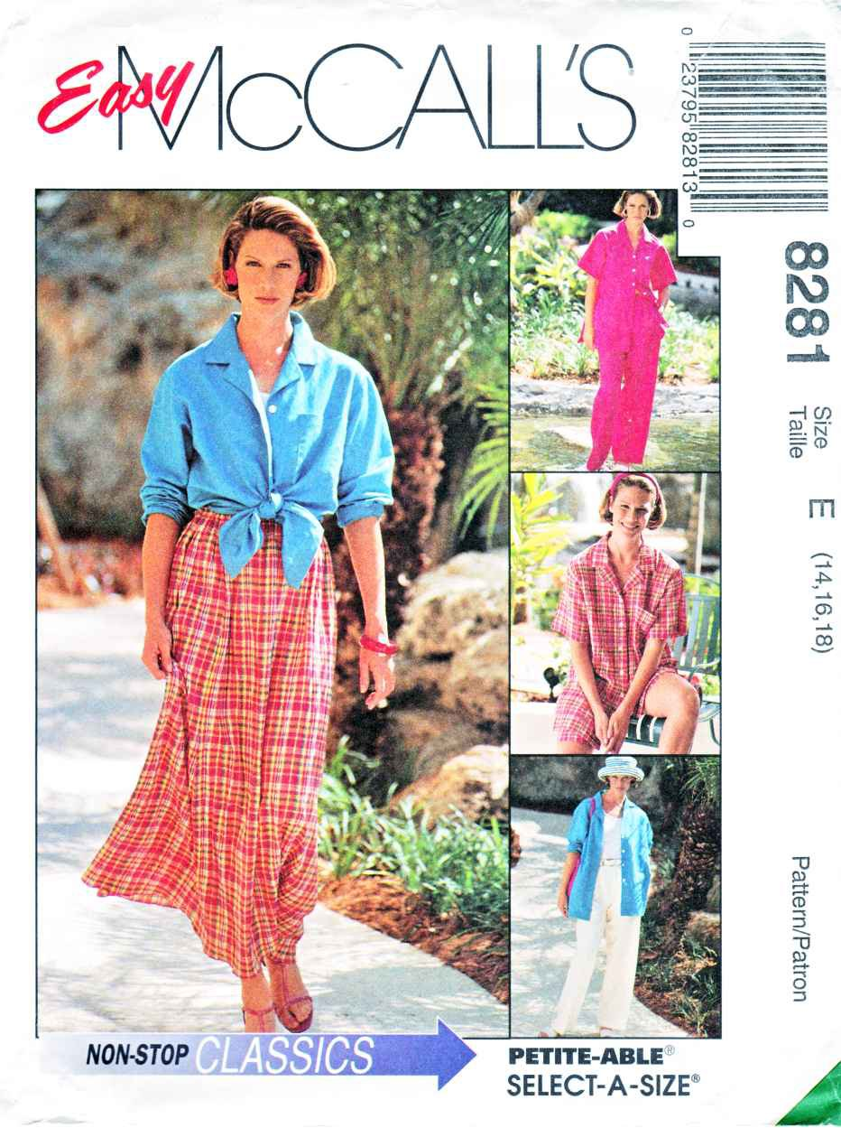 McCalls Sewing Pattern 8281 Misses Size 10-14 Easy Classics Shirt-Jacket Pants Shorts Skirt