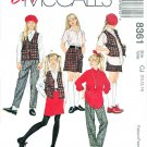 McCalls Sewing Pattern 8361 Girls Size 10-14 Easy Wardrobe Skirt Pants Shirt Vest