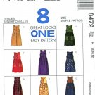 McCalls Sewing Pattern 8472 Misses Size 8-12 Easy Button Front Jumper Length Trim Options