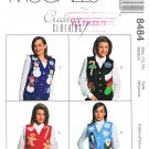 McCalls Sewing Pattern 8484 Misses Size 12-14 Button Front Lined Vest Christmas Winter Appliques