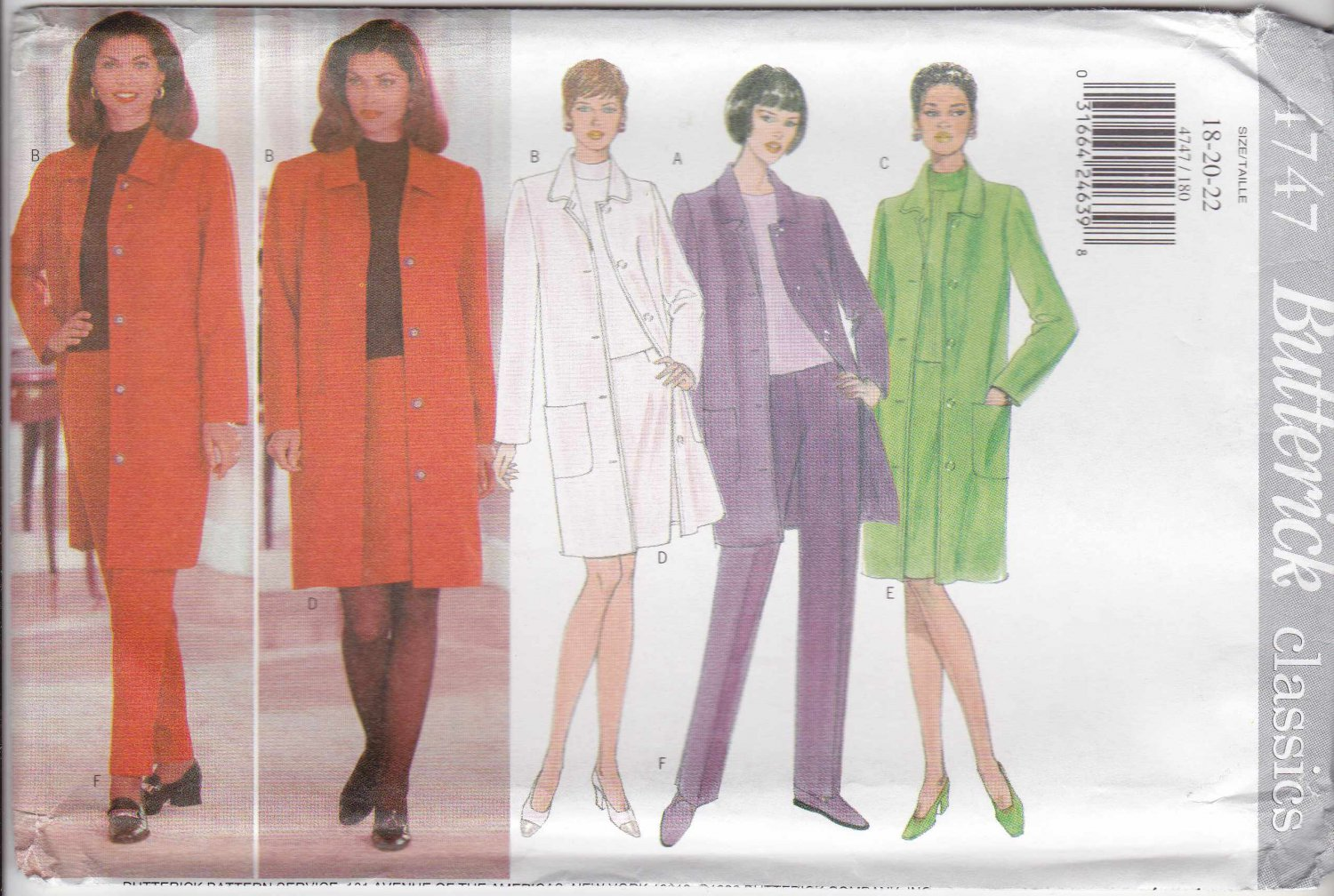 Butterick Sewing Pattern 4747 Misses Size 18-20-22 Easy Classic Wardrobe Jacket Top Skirt Pants