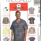 McCall's Sewing Pattern 2149 Men's Chest Size Large 42-44 Easy Sports Casual Button Front Shirts