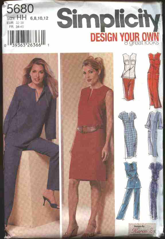 Simplicity Sewing Pattern 5680 Misses Size 6-12 Wardrobe Dress Top Tunic Pants Skirt