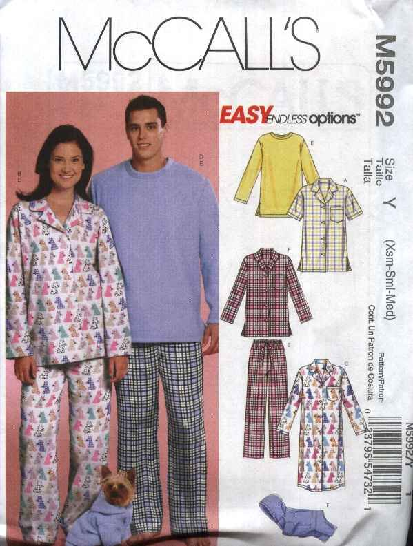 "McCall's Sewing Pattern 5992 Misses Mens Chest Size 29 1/2-36"" Easy Pajamas Nightshirt Dog Jacket"