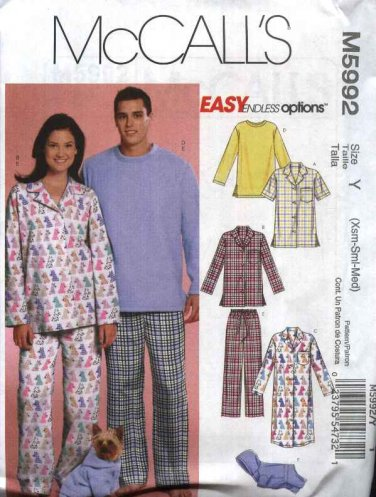 """McCall's Sewing Pattern 5992 Misses Mens Chest Size 29 1/2-36"""" Easy Pajamas Nightshirt Dog Jacket"""