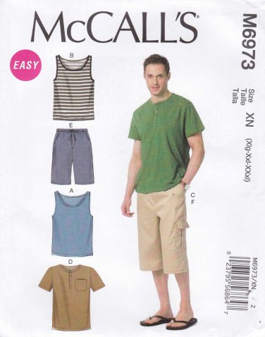 """McCalls Sewing Pattern 6973 Men's Size S-L 34-44"""" Easy Knit Tank Tops T-shirts Shorts"""