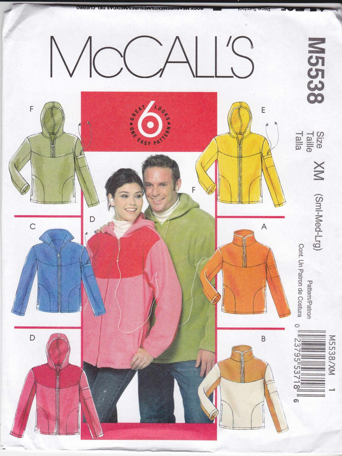 "McCall's Sewing Pattern 5538 M5538 Misses Mens Chest Size 34 44"" Easy Pullover Zipper Front Jacket"