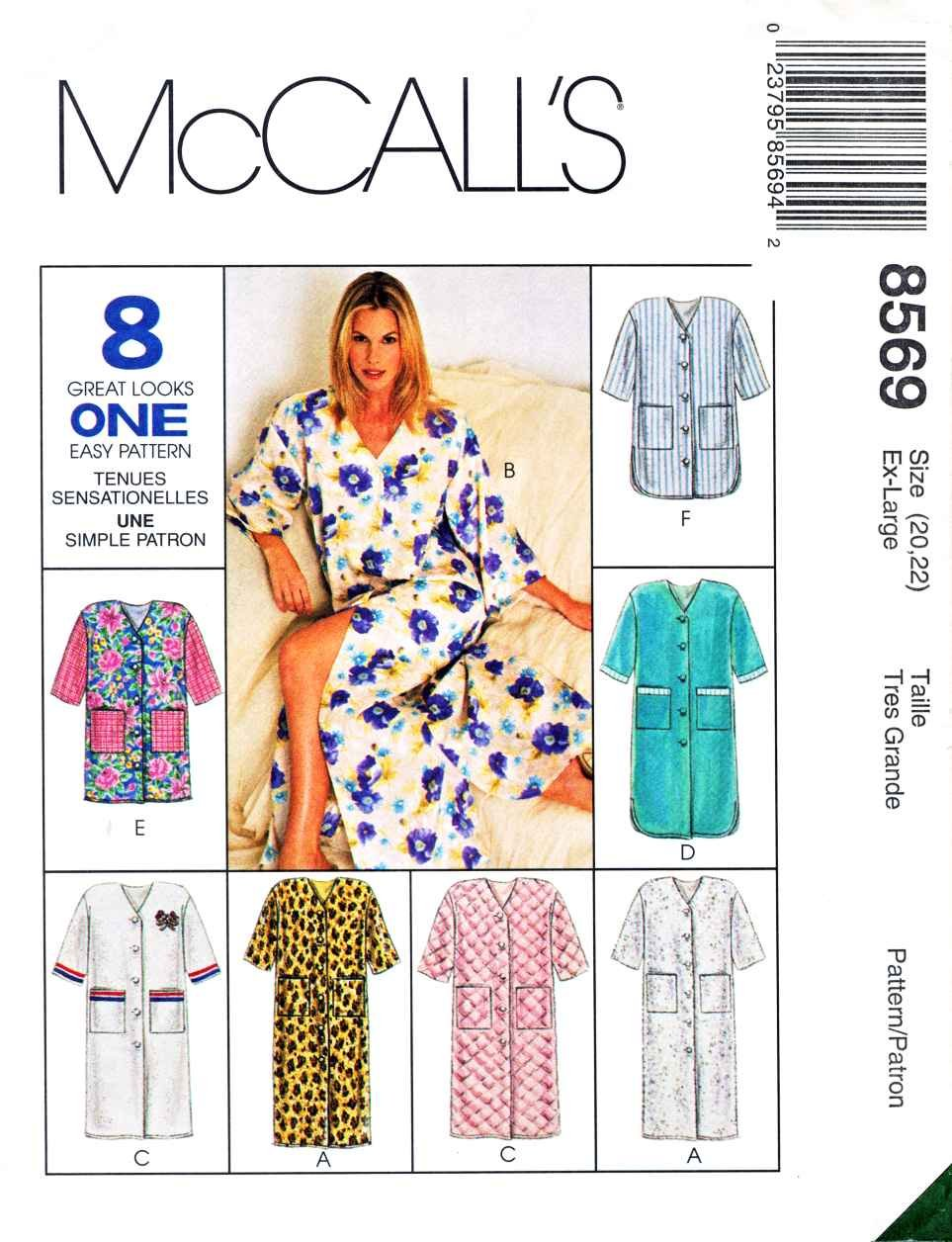 McCalls Sewing Pattern 8569 Misses Size 20-22 Button Front Bath Robe Length Options