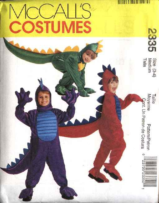 McCall's Sewing Pattern 2335 M2335 Childs Boys Girls Size 5-6 Dinosauer Dragon Halloween Costume