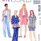 McCalls Sewing Pattern 8756 Misses Size 12-16 Easy Pants Shorts Shirts Sleeve Options
