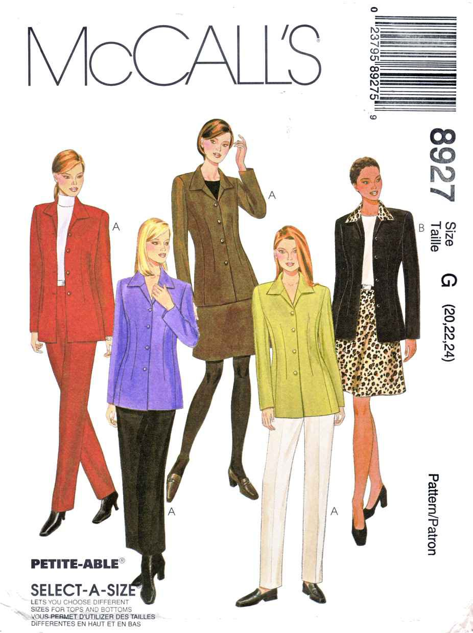 McCalls Sewing Pattern 8927 Misses Size 20-24 Wardrobe ...